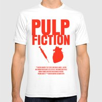 Pulp Fiction Movie Poster Mens Fitted Tee White SMALL