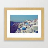 Blue Domes II, Oia, Sant… Framed Art Print