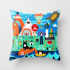Kitty Island Throw Pillow