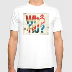 Who R U? SMALL White Mens Fitted Tee