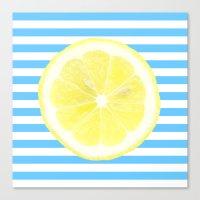 Lemon and blue stripes Canvas Print
