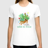 Wild and Free Womens Fitted Tee White SMALL