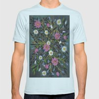 Teal Flowers Mens Fitted Tee Light Blue SMALL