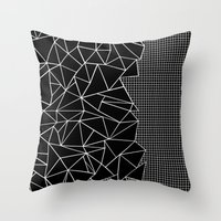 Abstract Grid Outline White on Black on Side Throw Pillow