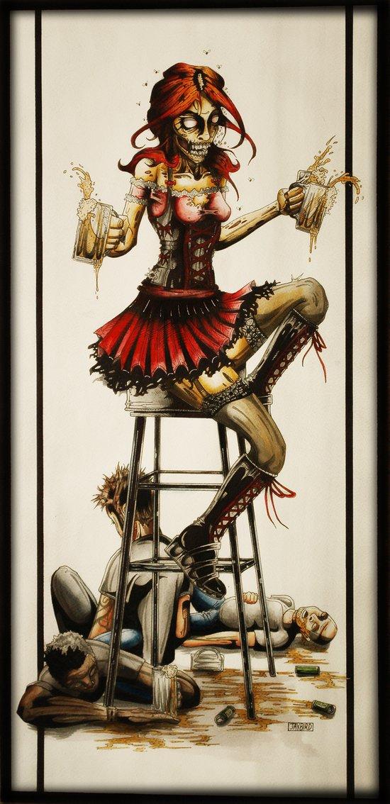 Zombie Beer Girl Art Print