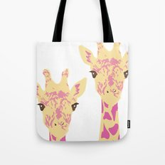 pinky giraffe sisters Tote Bag