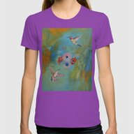 Hummingbirds Womens Fitted Tee Ultraviolet LARGE