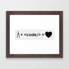 design + code = ♥ Framed Art Print