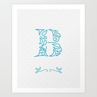 B Scallop: Blue Art Print