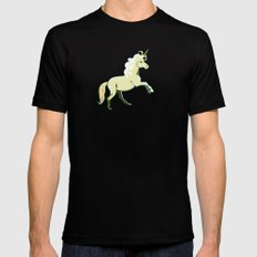 Unicorn at a Canter Mens Fitted Tee Black SMALL