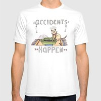 Accidents Happen Mens Fitted Tee White SMALL