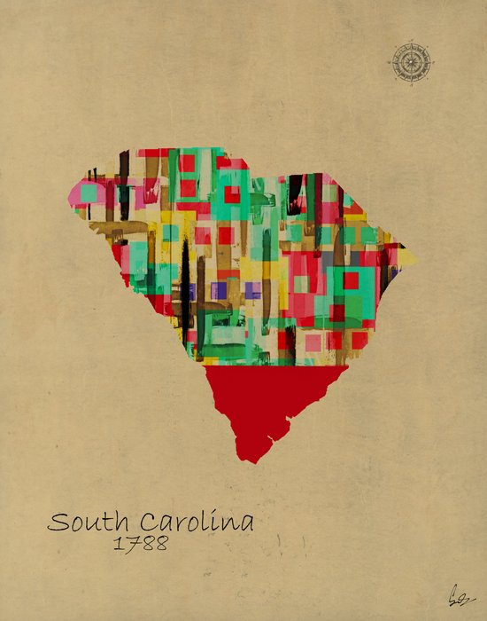 South Carolina state map Art Print