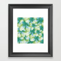 Blue Plumeria Floral Wat… Framed Art Print