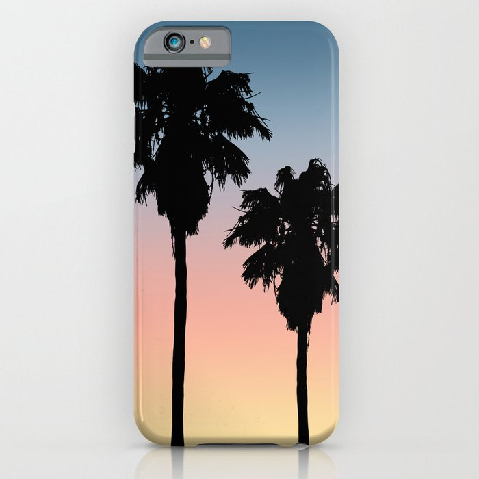 tropical sunset palm tree silhouettes iphone case