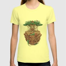 tree land Womens Fitted Tee Lemon SMALL