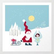 Santa And The Little Ang… Art Print