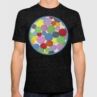 Word Bubbles Blue Mens Fitted Tee Tri-Black SMALL