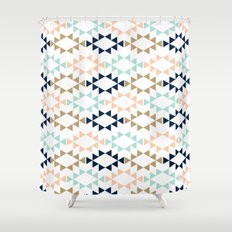 Aztec - Geometric tribal pattern in navy, gold glitter, pink, and blush Shower Curtain