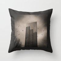Ravens, Clouded Sky Throw Pillow