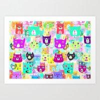 The Rocking Rainbow Cats Art Print
