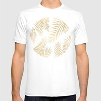 Gold palm leaves Mens Fitted Tee White SMALL