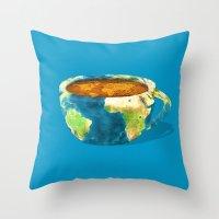 Coffee World Throw Pillow