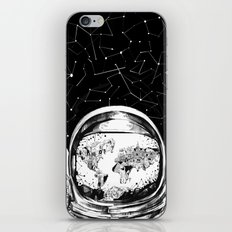 astronaut world map black and white 1 iPhone & iPod Skin