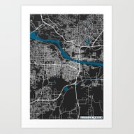 Little Rock City Map Bla… Art Print