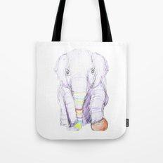 Striped Elephant Illustration Tote Bag