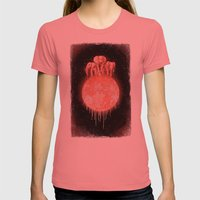 Elephants On Moon (varia… Womens Fitted Tee Pomegranate SMALL
