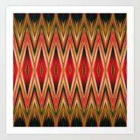 Orange Green Red Zigzag … Art Print