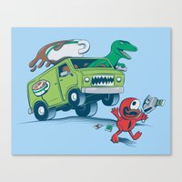 DinoLatte Run Down Canvas Print