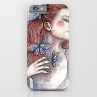 Girl with a butterfly II, watercolor artwork / illustration iPhone 6 Slim Case