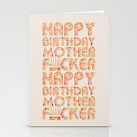 happy birthday Stationery Cards featuring Happy Birthday by Vickn