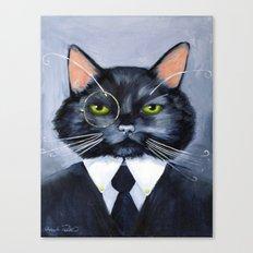 Black Cat in Suit Canvas Print
