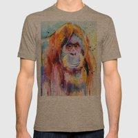 Orangutan Mens Fitted Tee Tri-Coffee SMALL
