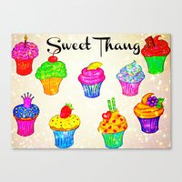 SWEET THANG - Cupcakes Sweet Sugary Goodness, Yummy Treat Romantic Colorful Bakery Illustration Canvas Print