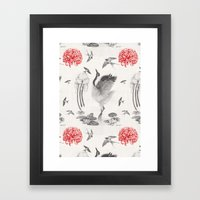 Crane, Swallow, Frog Framed Art Print
