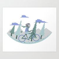 Werewolf Goes For A Ride Art Print