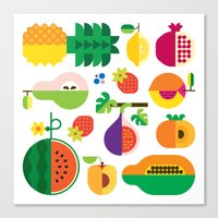 Fruit Medley White Canvas Print