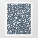 Winter Bloom - in Navy Art Print