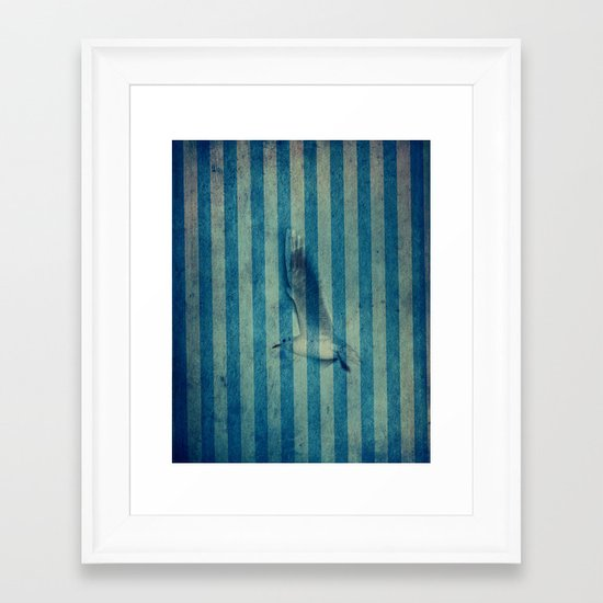seagull in cyan Framed Art Print