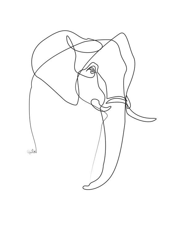 Elephant line Art Print