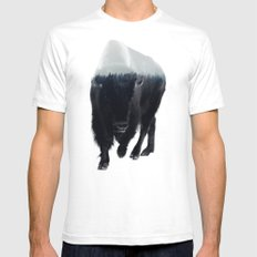 Bison In Mist Mens Fitted Tee White SMALL