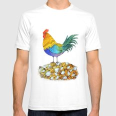 The Cockerel and The Jewel SMALL White Mens Fitted Tee