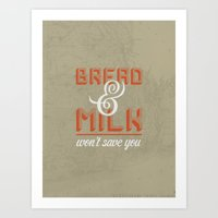 Bread And Milk  Art Print