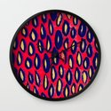 Mixed media and digital blue and pink pattern Wall Clock