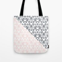 Black and Pink Crop Symmetry Tote Bag
