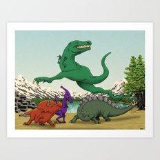 Dinosaurs Dancing Art Print