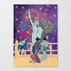 Hokusai People Seeing Statue of Liberty & Fireworks in Universe Canvas Print